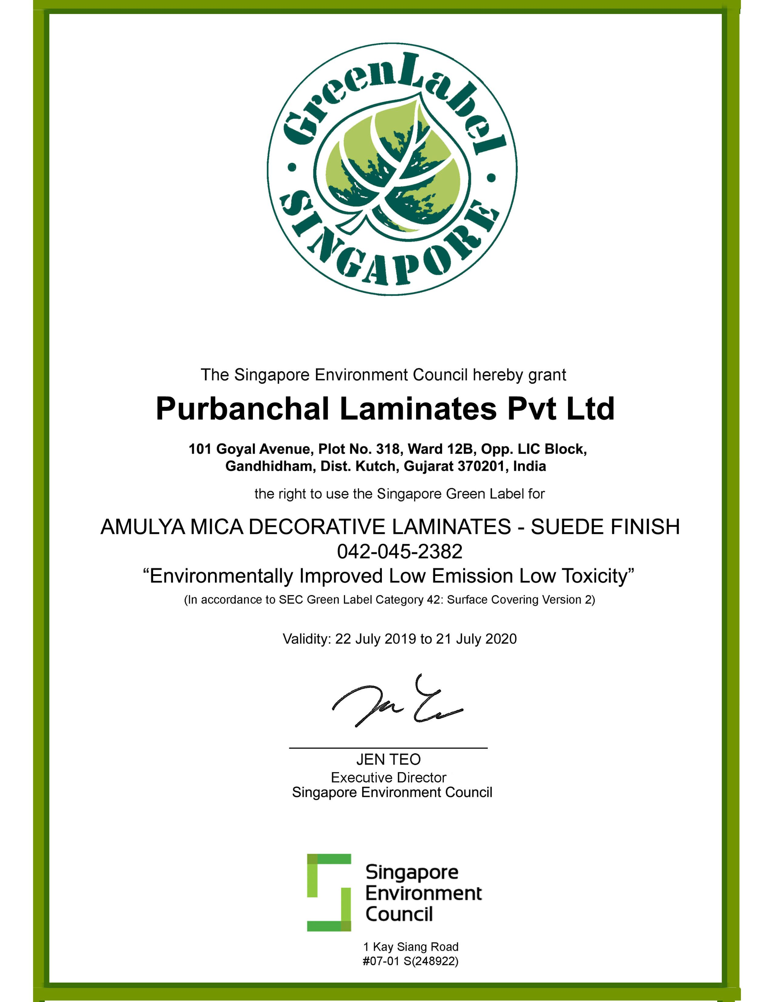 Singapore Green Label Certificate
