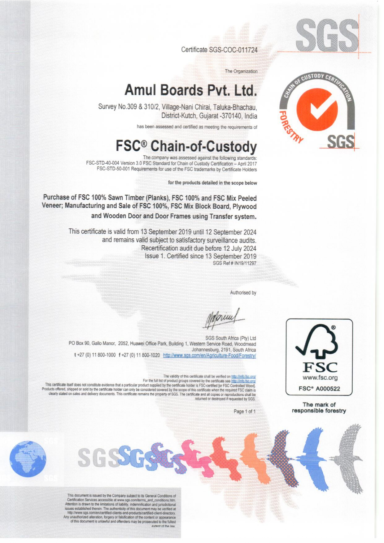 FSC Certificate By SGS South Africa